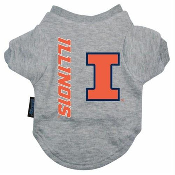 Illinois Heather Grey Pet T-Shirt