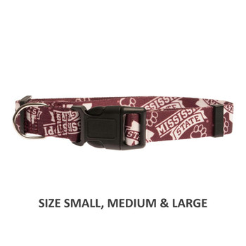 Mississippi State Bulldogs Pet Nylon Collar - Medium