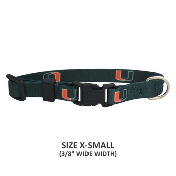 Miami Hurricanes Pet Nylon Collar - Small