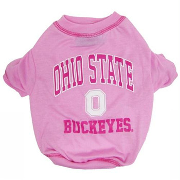 Ohio State Buckeyes Pink Dog Tee Shirt