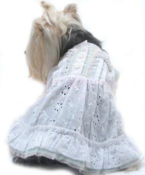 Angel in Disguise White Eyelet Dog Sundress