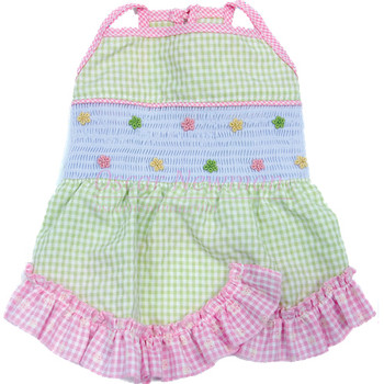 Life's a Picnic Gingham Hand-Smocked Dog Dress