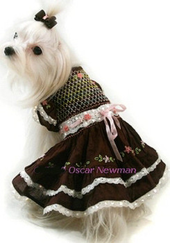 Chocolate Meltaway Hand-Smocked Dog Dress