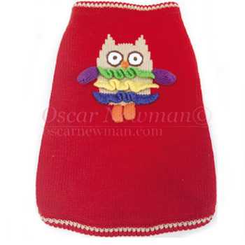 Owl Walk All Over You Dog Sweater - Red