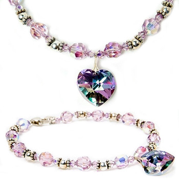 Frosted Grape Crystal Heart Pendant Dog Necklace