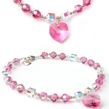 Pink Ice Crystal Heart Pendant Dog Necklace