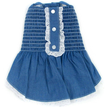 Light Up My Sky Chambray Smocked Dog Dress