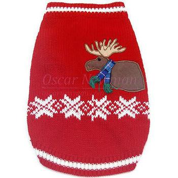 Holiday Moose Lodge Sweater Dog Vest