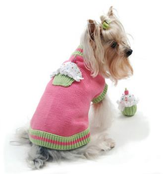 Sprinkles Cupcake Pink Dog Sweater w/ Toy
