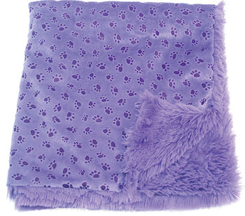 Violet Paw Prints on My Heart Blankie