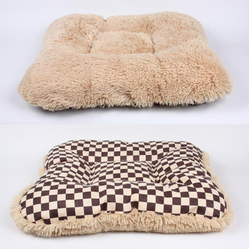 Windsor Check Square Dog Bed w/Camel Shag