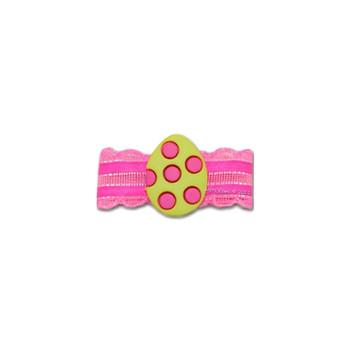 Dog Bow Barrette  - Pink Dotted Easter Egg