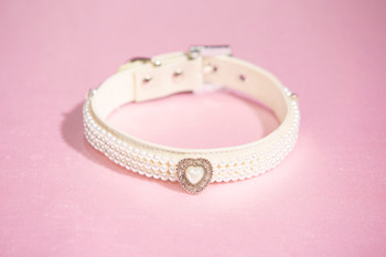 Triple Strand Pearl Choker Dog Collar with Rhinestone Heart
