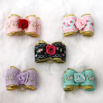 Rose Flower Bow by Hello Doggie