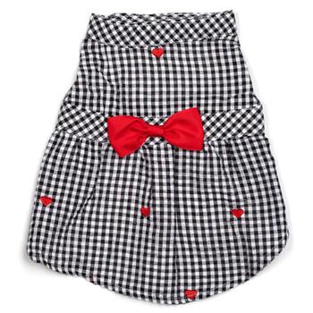 Gingham Hearts Pet Dog Dress - Small - Big Dog