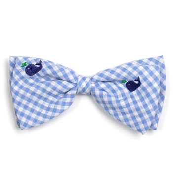 Gingham Blue Whales Pet Dog Bow Tie
