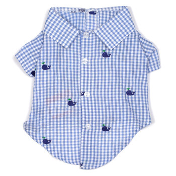 Gingham Blue Whales Pet Dog Shirt - Small - Big Dog