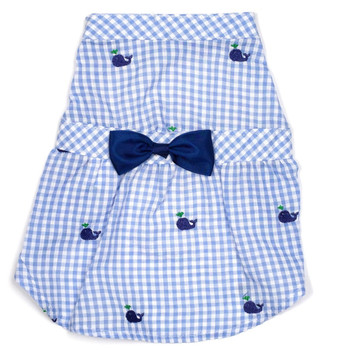 Gingham Blue Whales Pet Dog Dress - Small - Big Dog