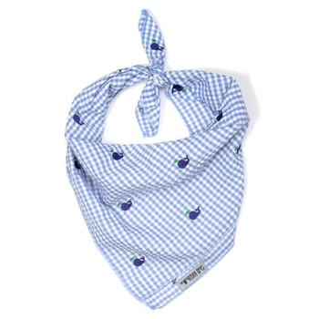 Gingham Blue Whales Dog Tie Bandana