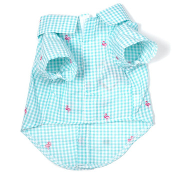 Gingham Pink Flamingos Pet Dog Shirt - Small - Big Dog