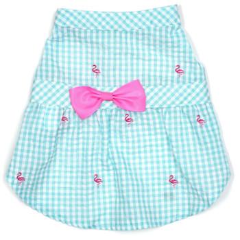 Gingham Pink Flamingos Pet Dog Dress - Small - Big Dog