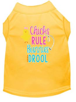 Chicks Rule Bunnies Drool Screen Print Dog Shirt / Tank - 12 Colors