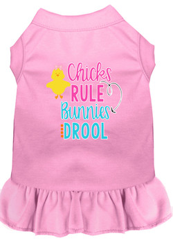 Chicks Rule Bunnies Drool Screen Print Dog Dress -10 Colors