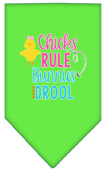 Chicks Rule Bunnies Drool Tie-on Pet Dog Bandana