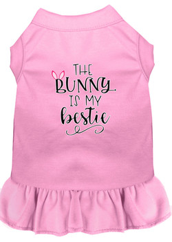 The Bunny is My Bestie Drool Screen Print Dog Dress -10 Colors