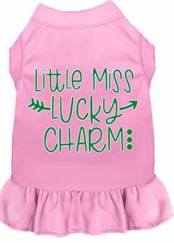 Little Miss Lucky Charm Screen Print Dog Dress - 4 Colors