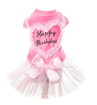 Designer Birthday Pink Tutu Dog Dress