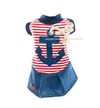 Designer Nautical Olive Dog Dress