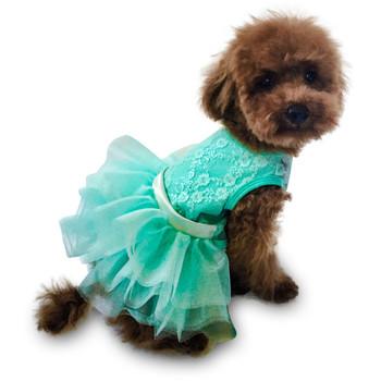 Lace Fufu Tutu Dog Dress - Seafoam Iridescent