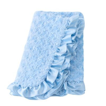 Baby Pet Dog Ruffle Blanket - Baby Blue