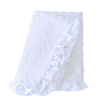 Baby Pet Dog Ruffle Blanket - White
