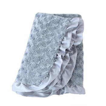 Baby Pet Dog Ruffle Blanket - Silver