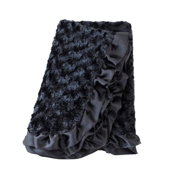 Baby Pet Dog Ruffle Blanket - Black