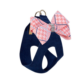 Peaches N Cream Glen Houndstooth Nouveau Bow Step In Harness - Indigo