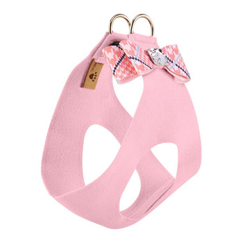 Peaches N Cream Glen Houndstooth Big Bow Step In Harness - Puppy Pink