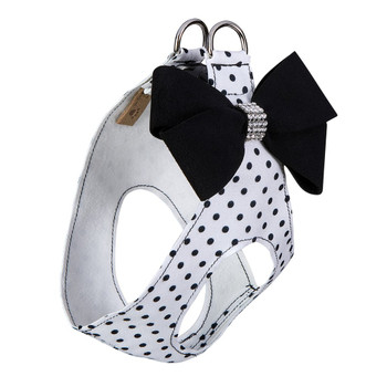 Polka Dot Nouveau Bow Step In Harness - Black Bow