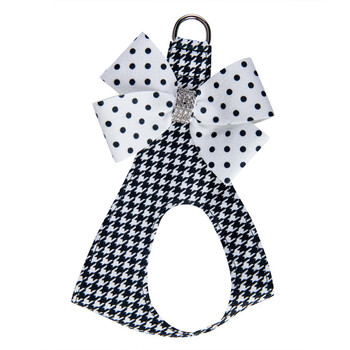 B&W Houndstooth Polka Dot Nouveau Bow Step In Harness