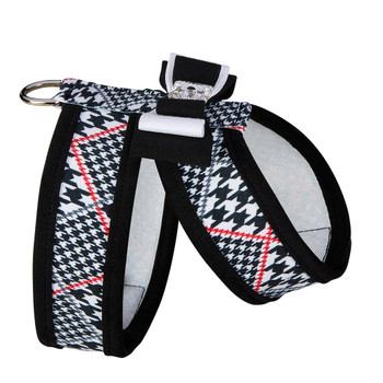 Classic Glen Houndstooth B&W Big Bow Tinkie Harness
