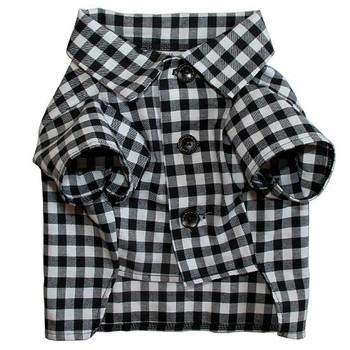 Cotton Classic Black & White Gingham Check Dog Shirt