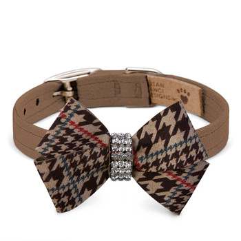 Chocolate Glen Houndstooth Nouveau Bow Collar