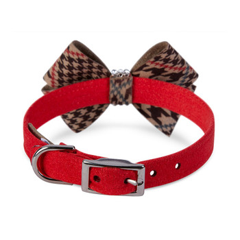 Chocolate Glen Houndstooth Nouveau Bow Collar - Red