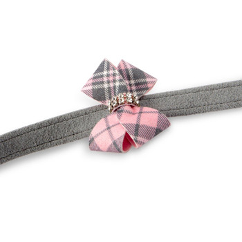 Scotty Puppy Pink Plaid Nouveau Bow Dog Leash