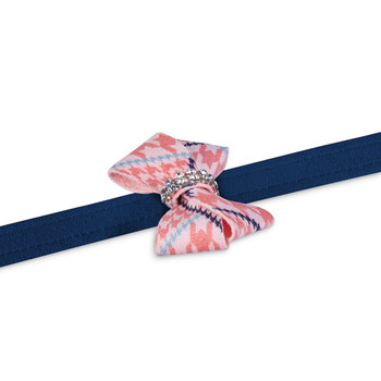 Peaches N' Cream Glen Houndstooth Nouveau Bow Dog Leash