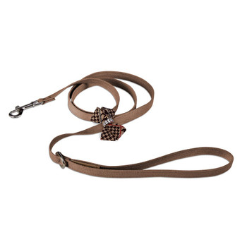Chocolate Glen Houndstooth Nouveau Bow Dog Leash