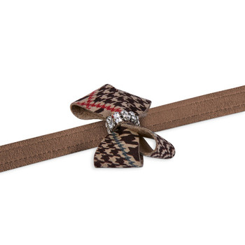 Chocolate Glen Houndstooth Nouveau Bow Dog Leash