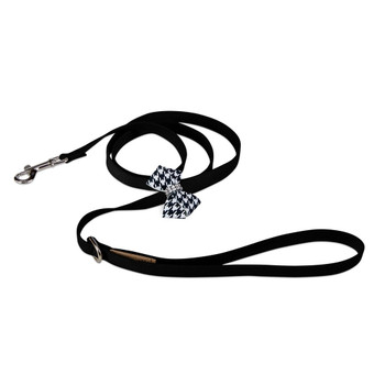 Black & White Houndstooth Nouveau Bow Dog Leash